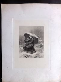 Anon C1860 LG Folio Antique Print. Children with Umbrella